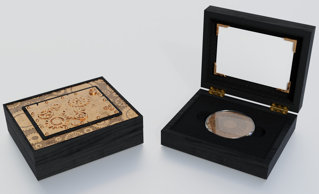 Steampunk coin box created by IPL Packaging