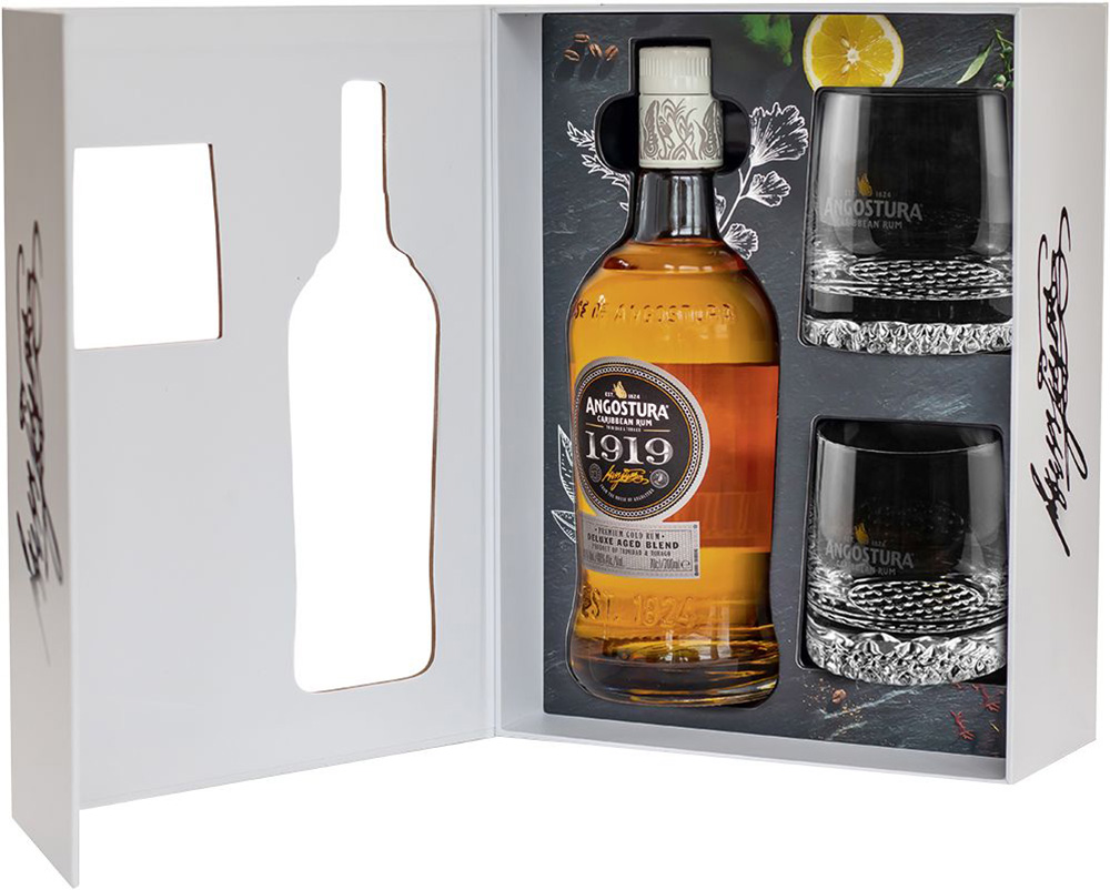 Angostura premium rum and glass tumblers in packaging